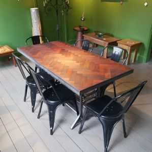 Vintage Singer Table with Parquet Flooring Top